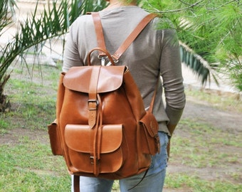 Leather Backpack -Leather Rucksack,Handmade Tobacco Color Satchel-EXTRA LARGE