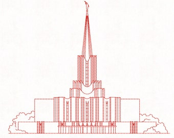 Jordan River Utah LDS Temple, Redwork Embroidery Design, digital instant download file.