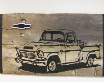 Reclaimed Barn Wood Wall Art, Vintage Chevy Truck