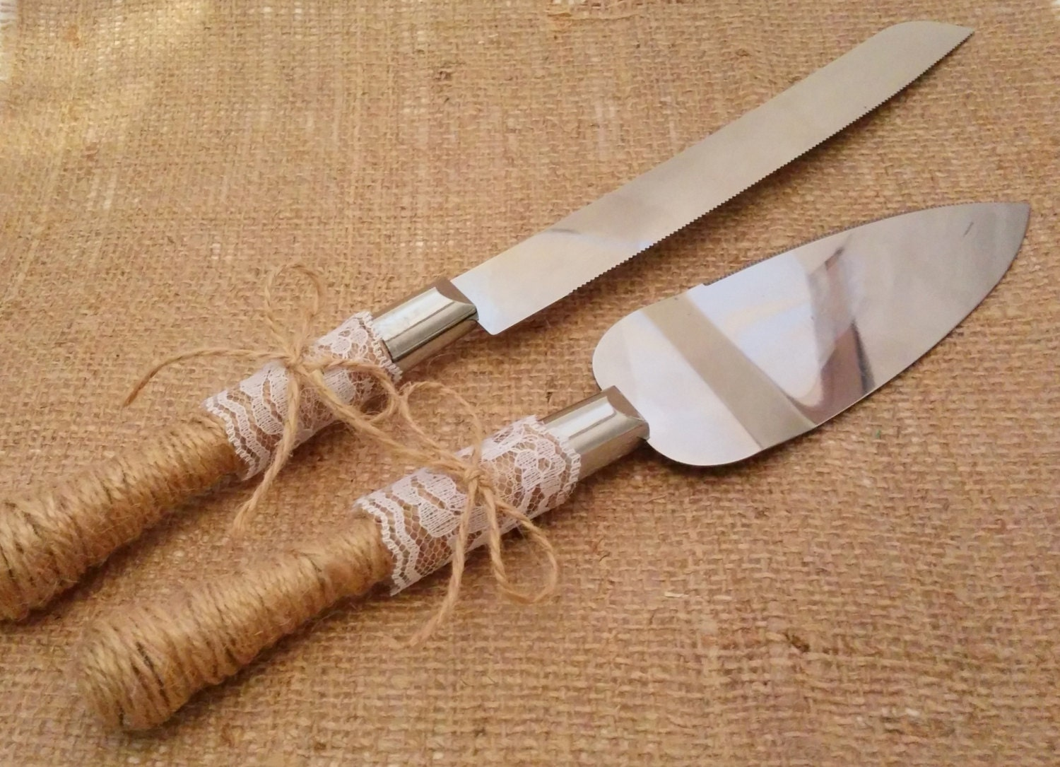 wedding cake knife server set rustic wedding cake knife and server set jute twine amp lace 8677