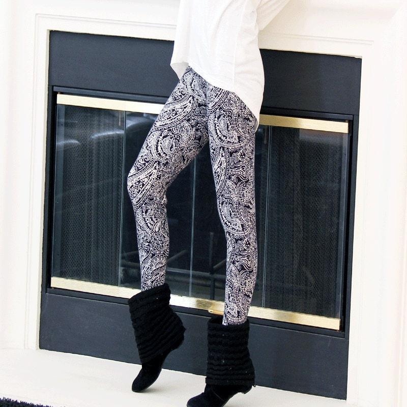 fashion paisley winter black white leggings pants stretch