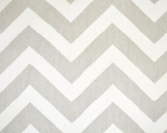 Silver / White Chevron Minky fabric (Shannon Fabrics) Gray