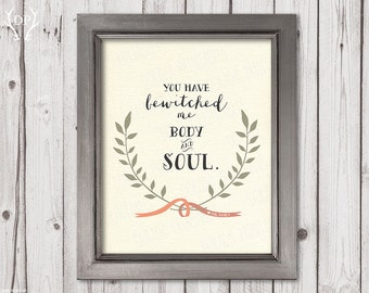 Pride and Prejudice quote, Mr Darcy quote, Jane Austen, laurels, ribbon, love art print, printable art, you have bewitched me, download