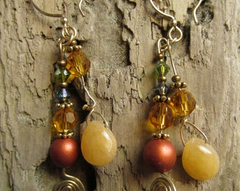 Bling Earrings Dangle Gold Tone Beaded Earrings