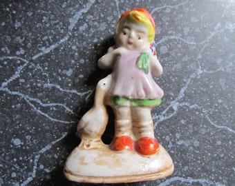 Vintage Japan Figurine with Goose Sweet Girl Japan Figure Goose Girl