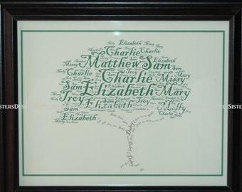 Personalized Custom Typography Word Art Family Tree
