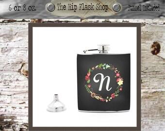 Chalkboard Floral Wreath Initial Monogram Flask  21st Birthday Gift Bridal Party Bridesmaid Liquor Flask Funnel Custom