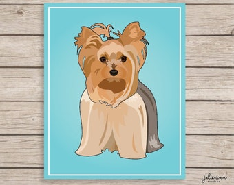 Yorkie Art, Yorkshire Terrier Art Print, Yorkie Wall Art, Yorkie Decor, Yorkshire Terrier Wall Art, Puppy Art, Dog, Dog Art, Yorkie Portrait