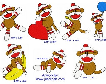 28 Sock Monkey Machine Embroidery Design Files 4x4