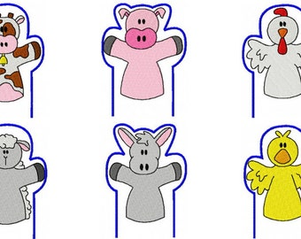 46 Farm Hand Puppets Embroidery Design Files 4x4, 5x7, 6x10 with Memory Matching Games