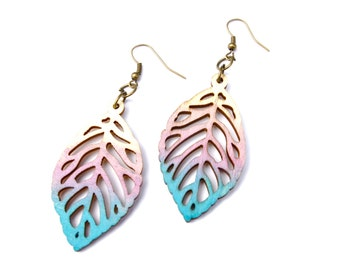 Dangle Earring - Wood Earrings - Leaf Earrings - Ombre Earrings - Wood Leaf Earrings - Purple Earrings - Blue Earrings