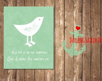 Mint, His Eye is on the Sparrow | Bird Wall Art | 8x10 (Digital File) | Nursery Art