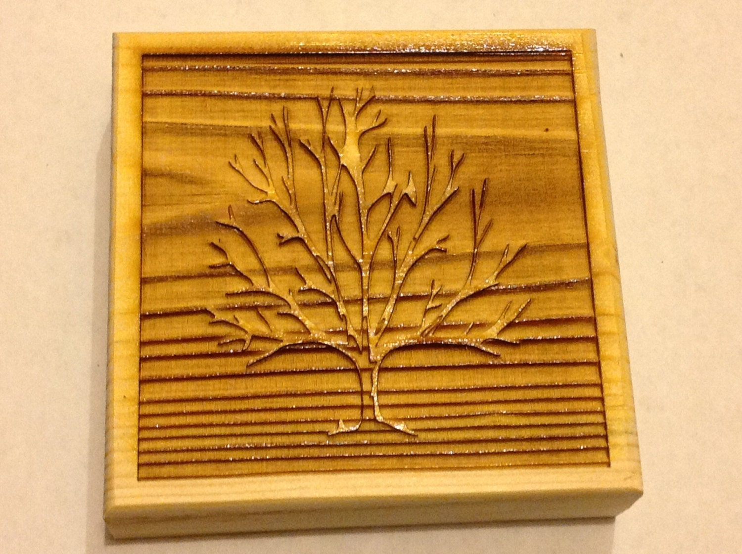 Laser Engraved Tree Corner Trim Blocks For Door And Window