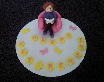 edible ladies birthday, retirement readincake topper *personalised*