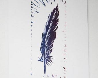 Pack of 3 hand printed cards with feather quill design