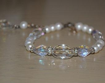 Vintage Inspired Crystal and Pearl Bracelet