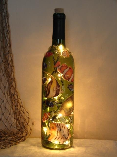 Wine bottle light fish aquarium decorated altered for Wine with fish