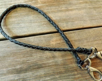 """Handmade braided leather wallet chain in 1/4"""" 4 strand shown in black"""