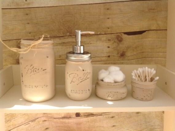 items similar to mason jar bathroom set painted mason ball jars mason jar soap mason soap. Black Bedroom Furniture Sets. Home Design Ideas
