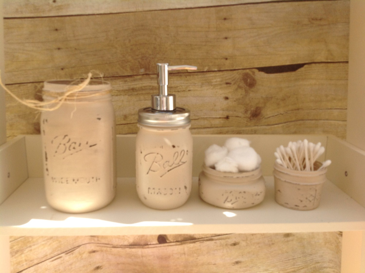 Items similar to mason jar bathroom set painted mason for Bathroom decor mason jars