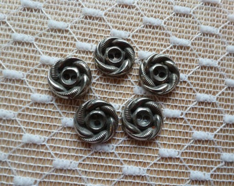 5 Silver Vintage Buttons