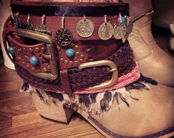 Size 7 and 8 Reworked Faux Leather Hippie Hipster Boho Boots