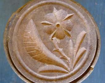 Antique Wooden Butter Mold With Flower Pattern