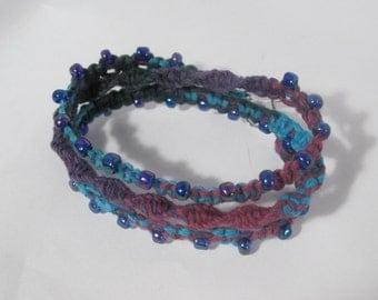 Macrame Bracelet Trio or Convert to Necklace