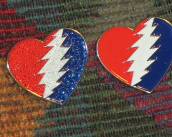 Set of 2 Dead Head Steal Your Heart Heart Enamel Lapel Hat Pin with Glow in the Dark Lightning Bolt