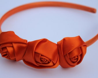 Orange headbands, orange Flower girl headband, orange satin flower headbands, rosette flower headbands, orange hair accessory girls