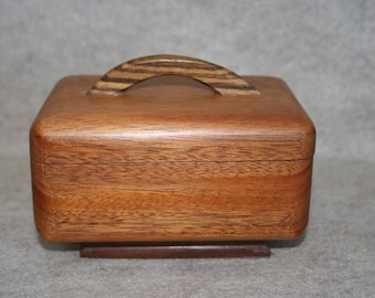 Curvy Mahogany Lift Top Box With Pedestal