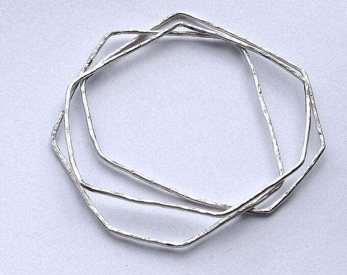 Geometric Stacking Bangles - Three Bangle Set - Sterling Silver - Angular - Irregular Hexagon - Hammered - Textured Recycled