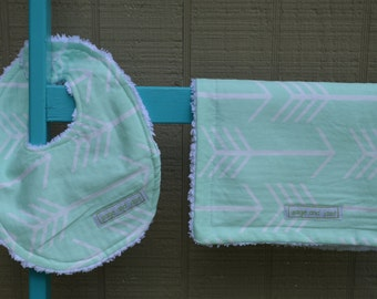 arrow baby bib and burp cloth chenille backing
