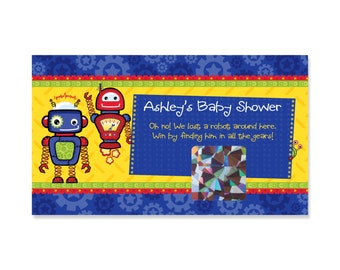 Robots Baby Shower Scratch Off Game - 22 Personalized Game Cards