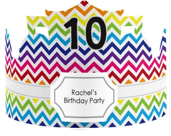 8 Custom Party Hat - Rainbow Birthday Party Supplies - 8 Count
