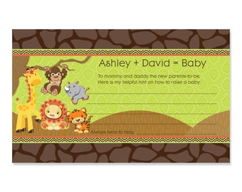 Safari Jungle Baby Shower Advice Cards - 18 Personalized Helpful Hints Cards