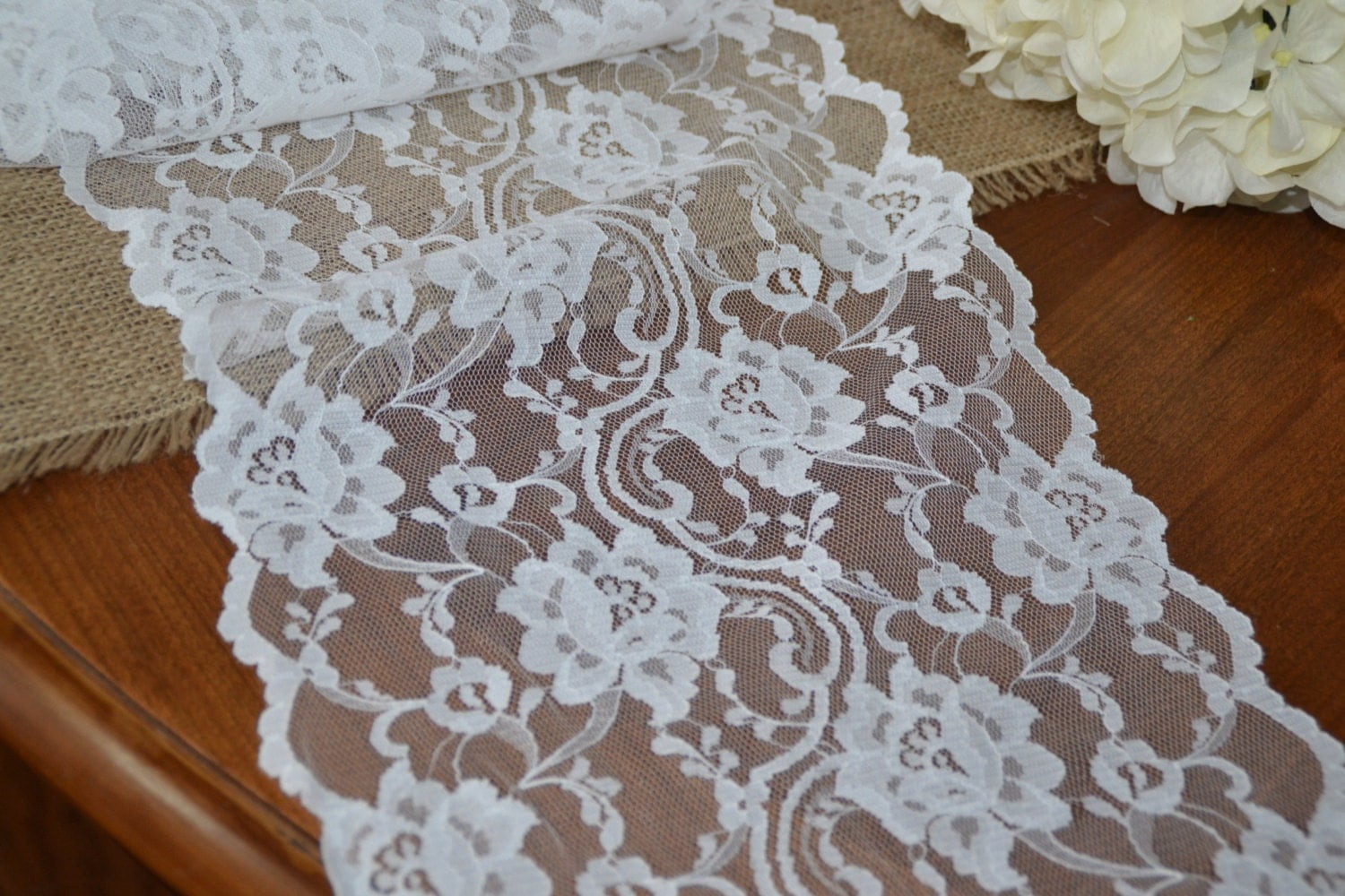 5 Yards 10 Wide White Lace Trim Wide Lace Table Runner
