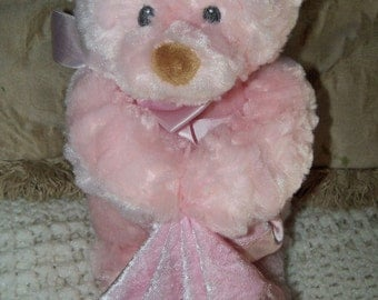 """Baby Gund God Bless Baby Melody Faith COTTON CANDY Pink Musical Bear #58423 15"""""""