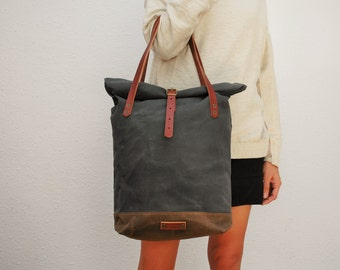 roll top Tote bag waxed canvas, charcoal/brown color ,with leather handles and closures,hand wax