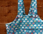 Handmade Retro Baby Dungarees,  Elephant Print dungarees for infants and toddlers, baby Clothing, Children's Clothing