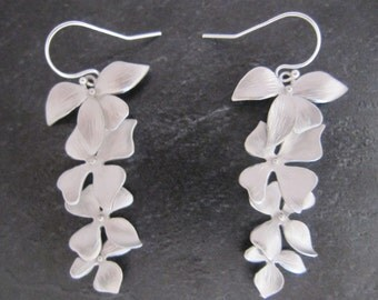 Cascading white Gold/Rhodium plated Flower Earrings, Matte Orchid four flower earrings, Gift for Her, Mother's, Bridesmaids, Wedding