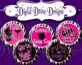Girl's Night Out - 1 inch round digital graphics - Instant Download