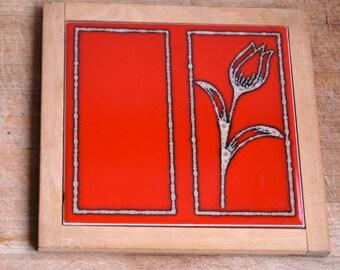 Vintage Red Flower Tile Trivet-Art Deco Style