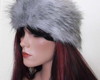 Silver Fox Faux Fur Headband in Silvery Grey with Spiky Black Tips