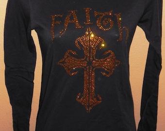 CLEARANCE - Faith with Cross Rhinestone long Sleeve Fitted Tee