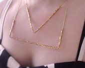 Modern Triangle Necklace with Gold Geometric Cube Beads