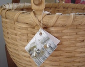 Hand Woven New England Swing Handle Large Round Basket, Wooden Base - WhiteBirchFiber