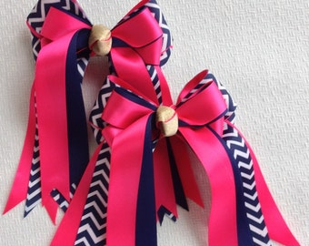 Horse Show Bows/Blue Chevron/Shocking Pink