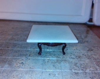 High Quality dollhouse furniture handmade marble top mahogany coffee table gorgeous ooak hand crafed white real marble rare unique 1/12