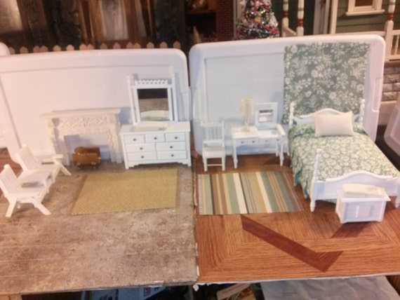 Good quality dollhouse furniture bedroom set lot nautical for Quality white bedroom furniture